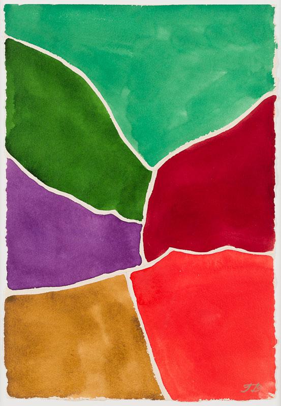 Composition verte rouge brun mauve