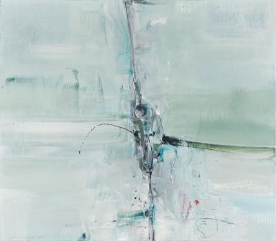 Composition Abstraite Verte et Grise