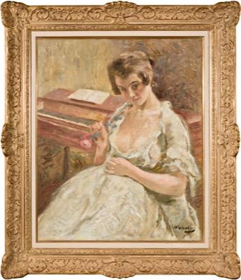 Jeune femme a la rose